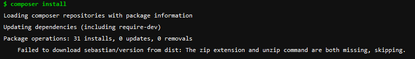 composer install console output, showing missing zip and unzip libraries