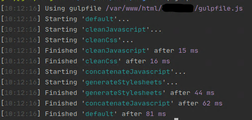 successful run of the full gulp task, following the addition of sync to the del call
