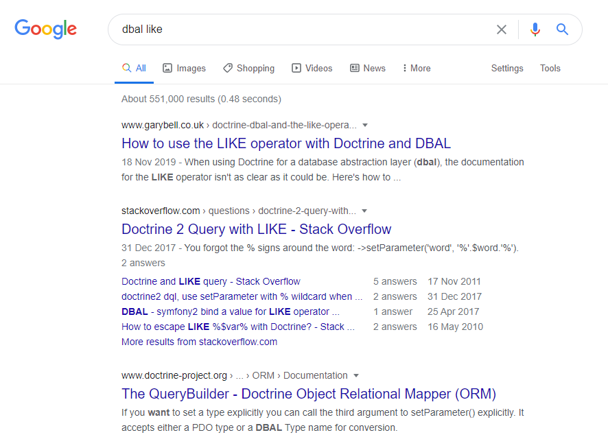 """Google search results for the query """"dbal like"""" - my website is top of the list"""