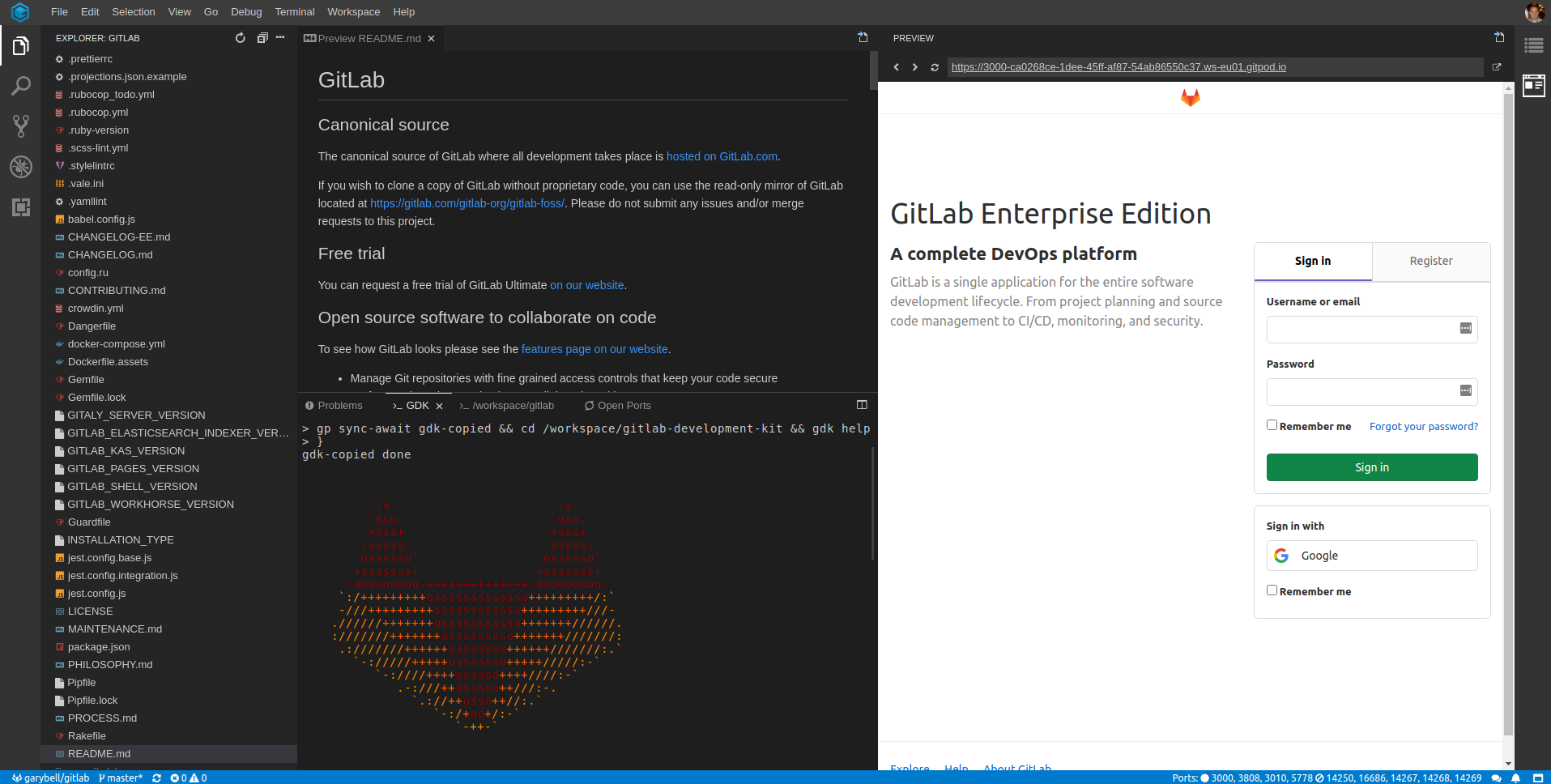 GitLab GDK within Gitpod. The README file is showing on a split screen with the login screen.