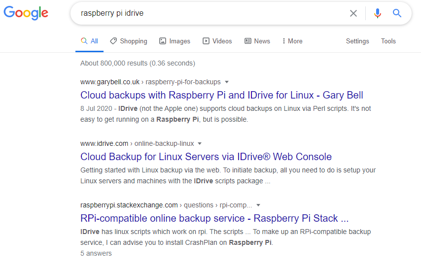 """Google search results for """"raspberry pi idrive"""". I rank number 1"""