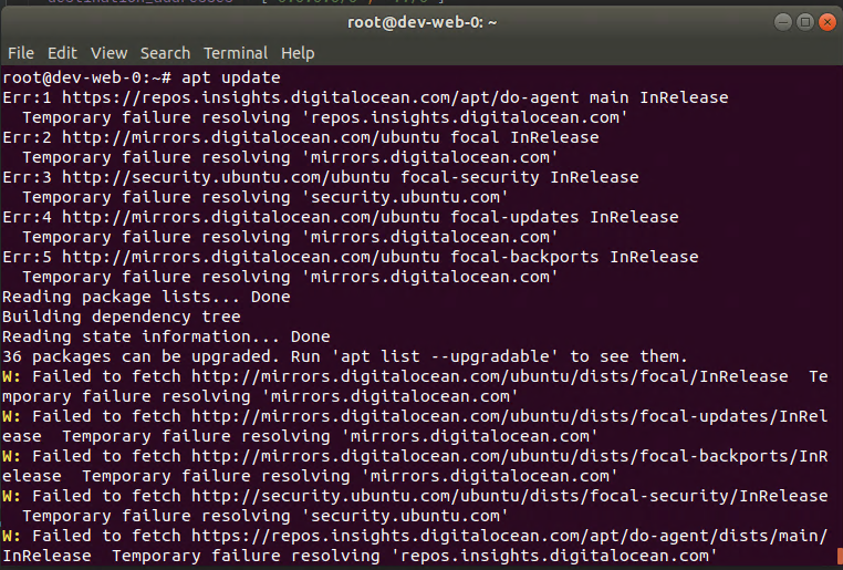 Terminal output from a Ubuntu server. Mirror repositories for updates are unable to be resolved