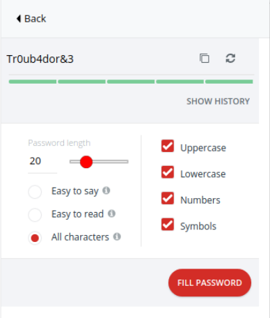 "LastPass password generator showing the strength for the password ""Tr0ub4dor3&"""
