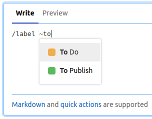 Adding labels using quick actions