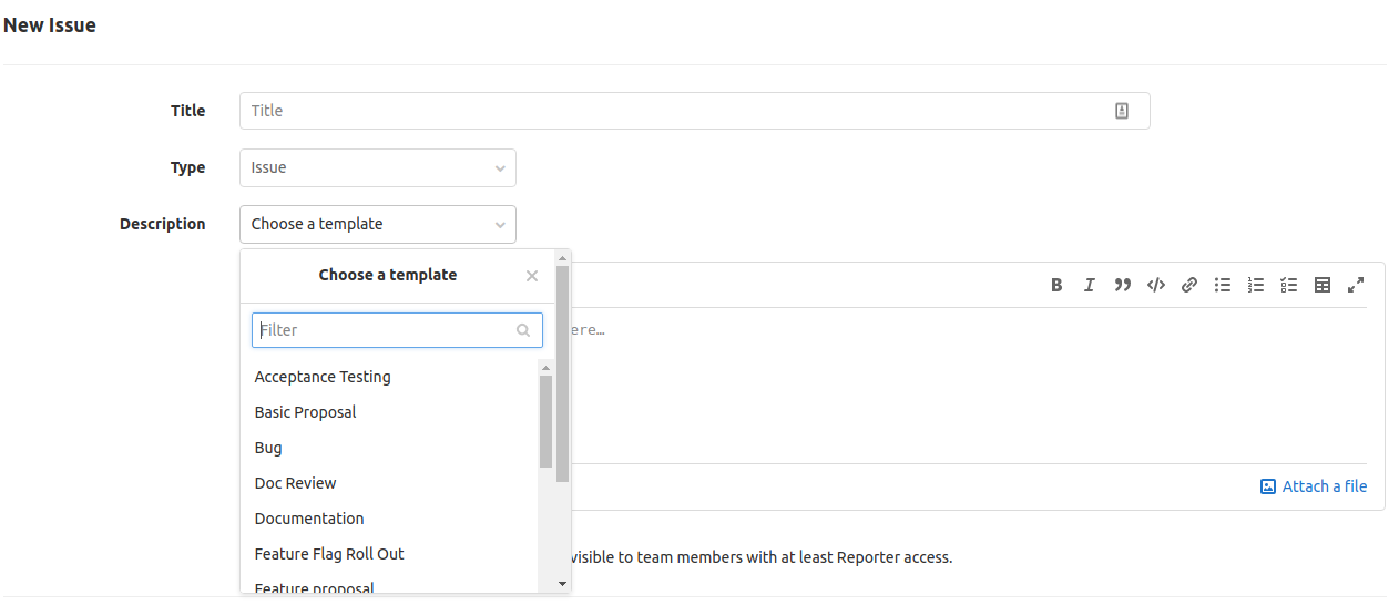 [Issue templates drop down listing various selectable templates
